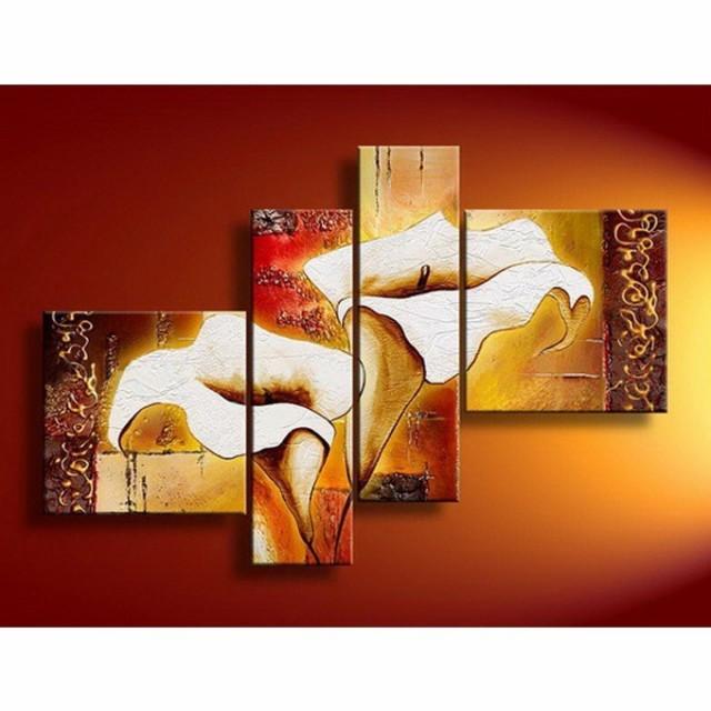【ミニ】4枚組W90cm 花 和風 絵画 壁掛け アート ...