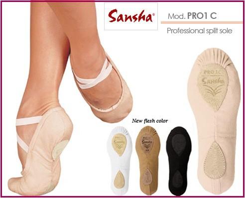 【期間限定お試しセール】【サンシャ】Pro-1C バレエシューズ:世界中のプロダンサーが愛用!手縫いスプリット・バレエシューズ
