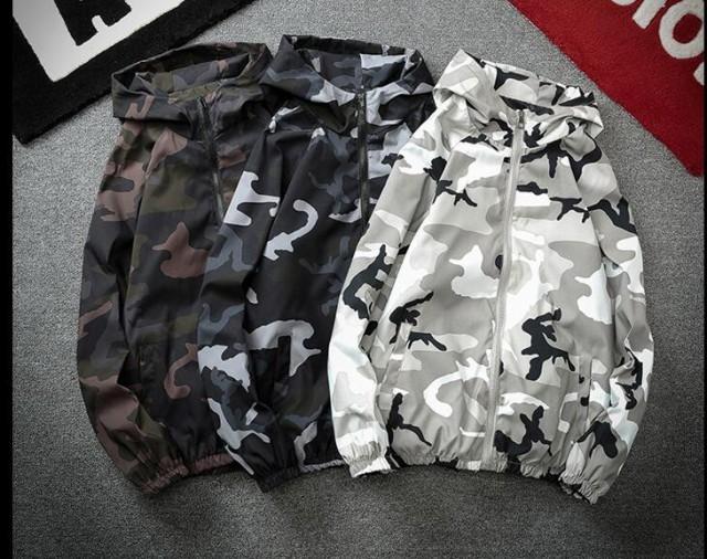 8色大きいサイズ 長袖迷彩ジャケット 防水 防風 U...