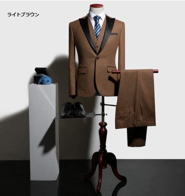 6色 タキシードスーツ 3点セット カジュアル 3ピ...