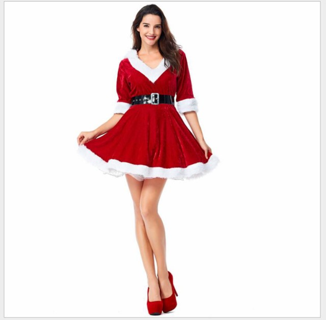 ベルト付き ワンピース クリスマス 衣装 サンタク...