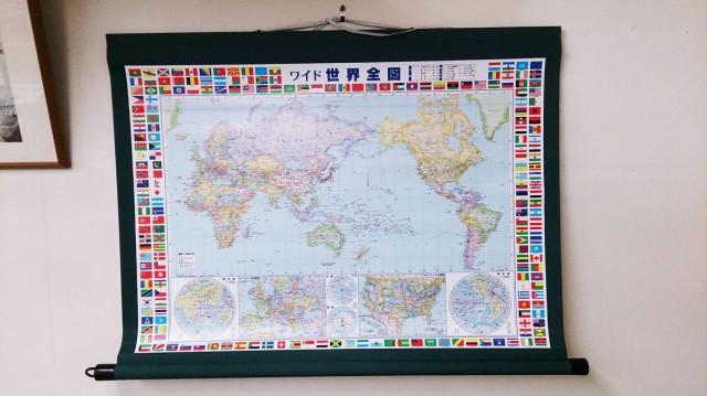 大きな世界地図 掛軸  B0判