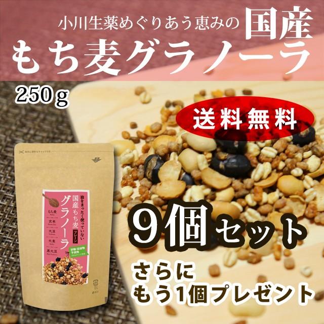 小川生薬のもち麦グラノーラ 250g 9個+1個セッ...
