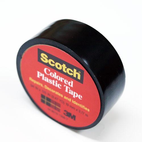 3M プラスチックテープ 19mm 190 黒│ガムテ...
