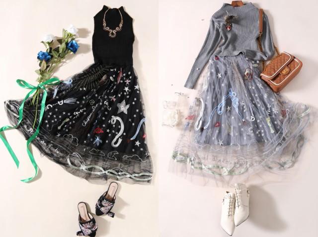 個性的 宇宙刺繍 ワンピース ドレス パーティー