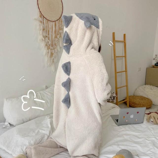 ルームウェア パジャマ 着ぐるみ風 上下セット ふわふわ かわいい 2点セット かわいい恐竜 寝巻き 冬 部屋着 秋冬 厚手 2