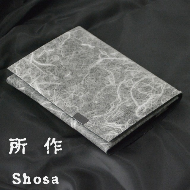 所作 財布 白和紙×ブラック レザー ショート ウ...