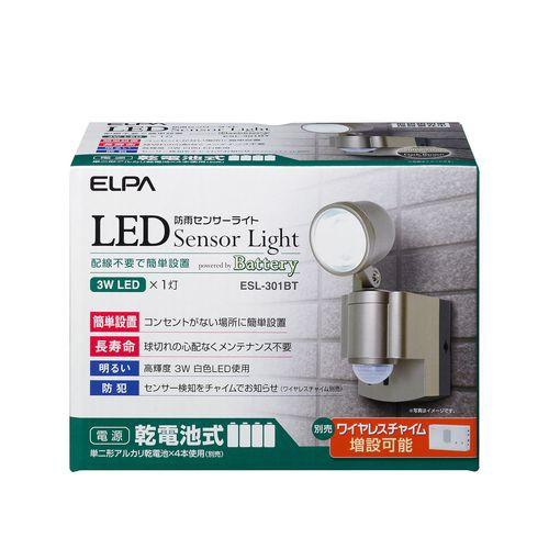 ELPA 電池式LEDセンサーライト ESL-301BT シャイ...