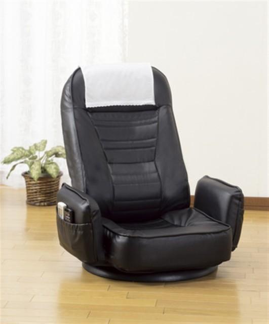 肘付きリクライニング回転座椅子 ブラウン