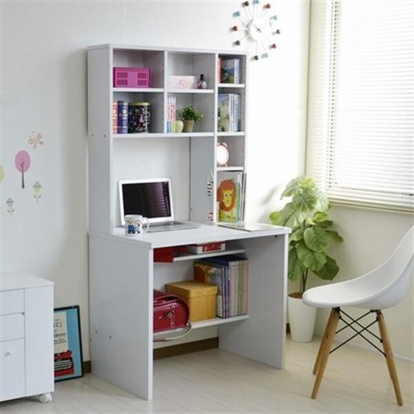 デスク 本棚付き 学習机 書斎机 83幅 ホワイト