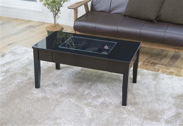 鏡面仕上げのコレクションテーブル ブラック