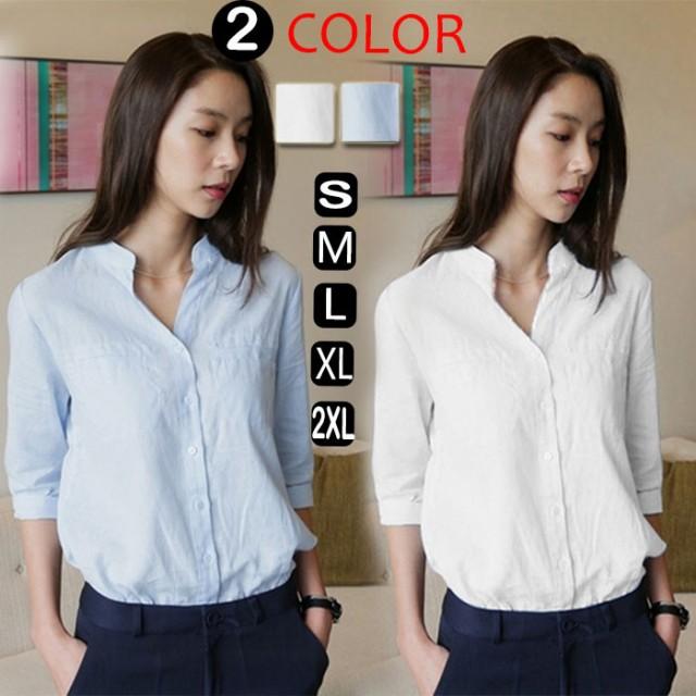 短納期 シャツ 大きいサイズ/レディース 白シャツ...