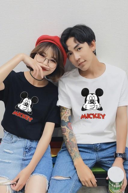 可愛いミッキープリント半袖 Tシャツ男女兼用 ユ...