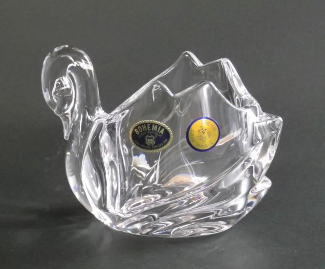 ボヘミアングラス クリスタル置物 スワン