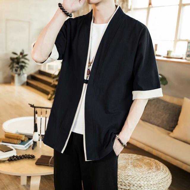 チャイナ風五分袖羽織シャツ