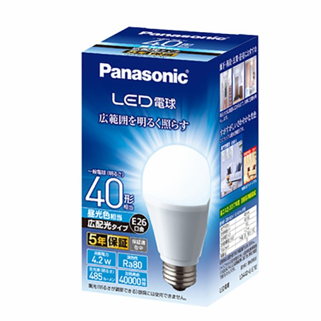 パナソニック LED電球 4.2W 昼光色相当 LDA4DGEW