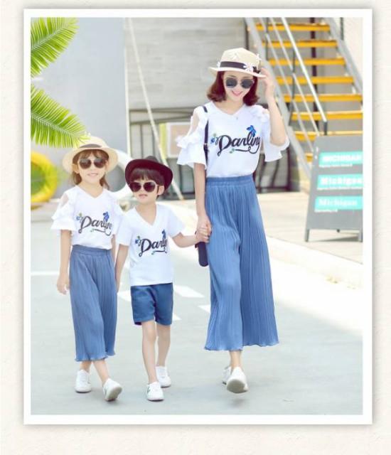 親子服Tシャツ+パンツ=上下2点セットアップ !...