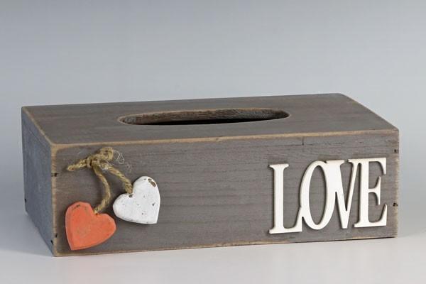 おしゃれな木製Loveティッシュ箱ケース