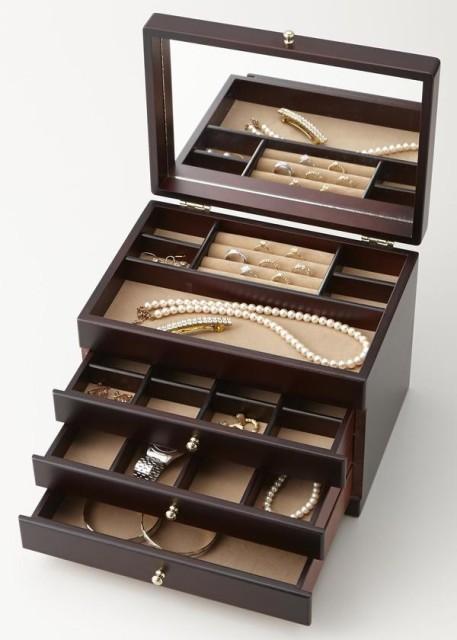 (Wooden Jewel Chest)木製ジュエルケース(3つ引き...