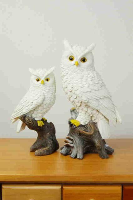 ☆吉鳥の白フクロウ(親子)