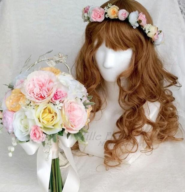 クラッチブーケ ブートニア 花冠セット【ウェデ...