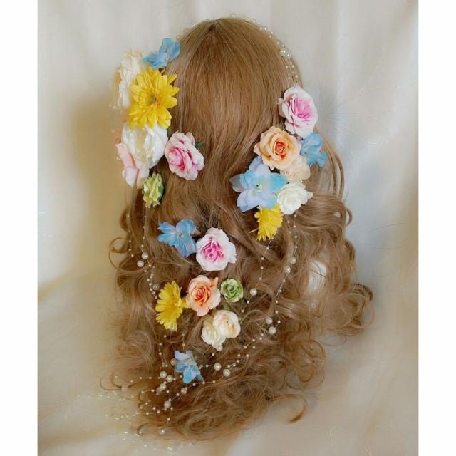 ボリューム髪飾り 造花 アートフラワー ラプン...