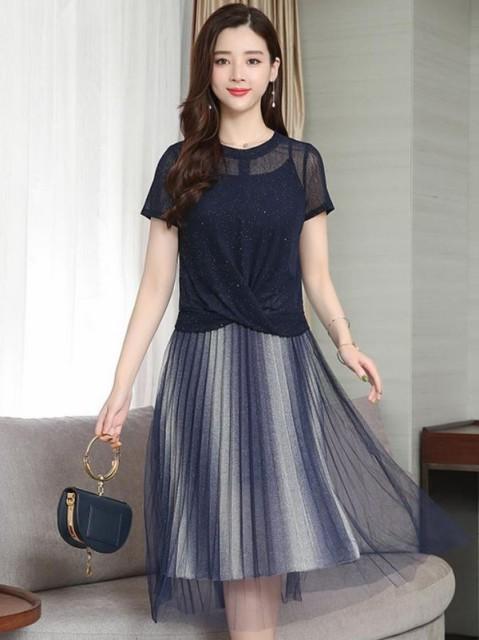 シースルー レイヤード ドレス ワンピース *韓国...