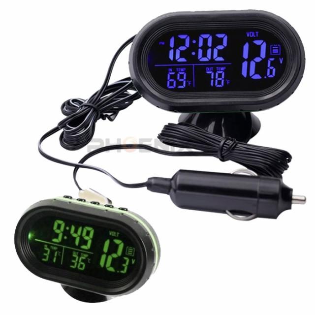 電圧計 温度計 時計 車 シガーソケット 4in1 多機...