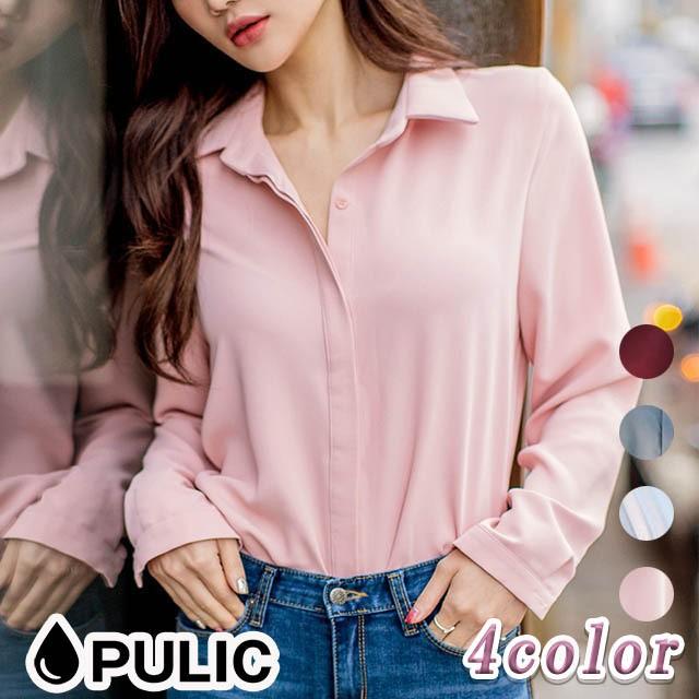 大人フェミニン シフォンシャツ 4カラー4サイズ