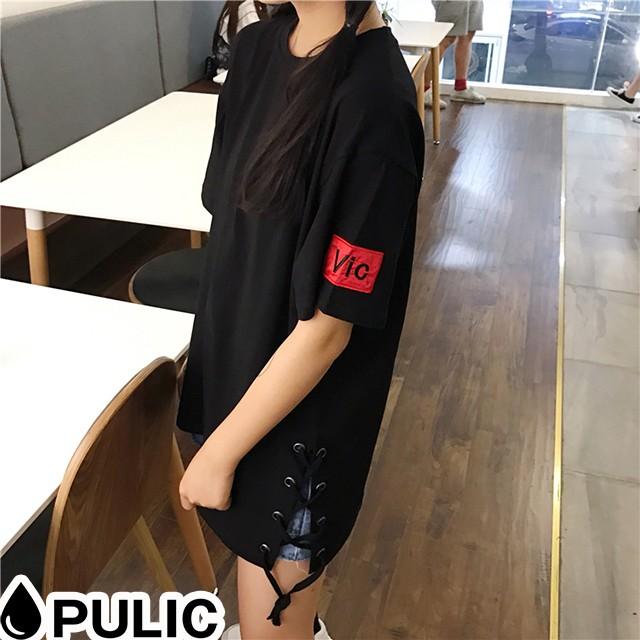 サイドレースアップ カジュアル Tシャツ 韓国