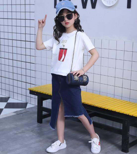 セットアップ 女の子 キッズ Tシャツ+デニムスカ...