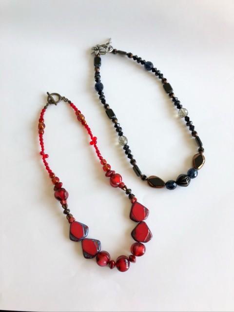 (ビーズ)ネックレス red&black