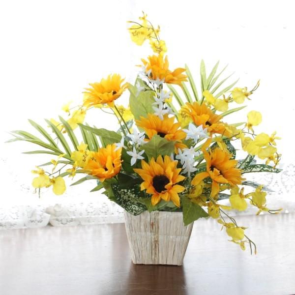 造花 ひまわりとオンシジウムのアレンジr 造花 シ...