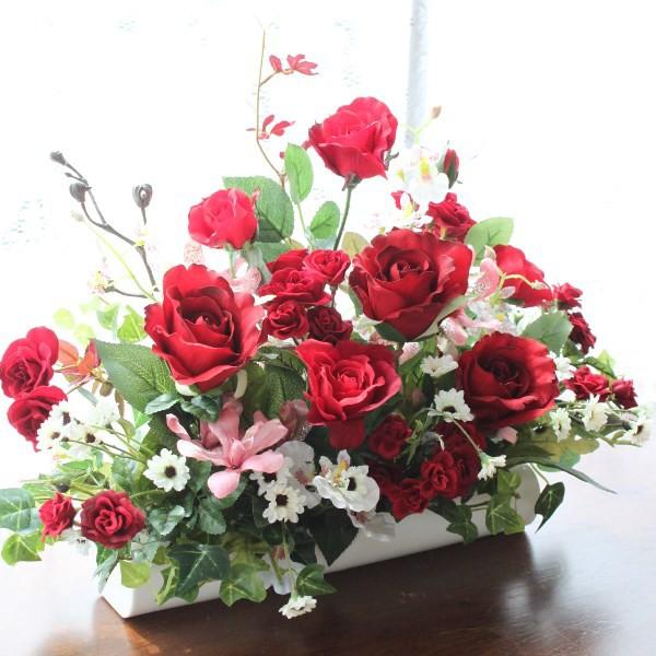 造花 真っ赤なバラとオンシジウムの出窓に飾れる...