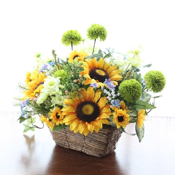 造花 ヒマワリとポンポンマムのアレンジ造花 シル...