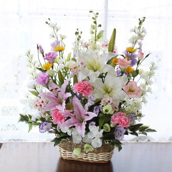 造花 カサブランカとデルフィニウムの豪華なアレ...