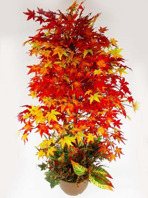 造花 もみじの鉢植え ディスプレイアレンジ L120 ...