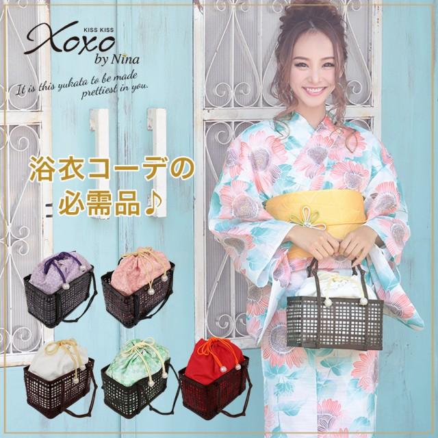 浴衣 バッグ 和装かばん かご巾着 (桜×紫/桜×ピ...