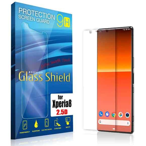 液晶保護フィルム Xperia 8 2.5D 9H 指紋防止(全...
