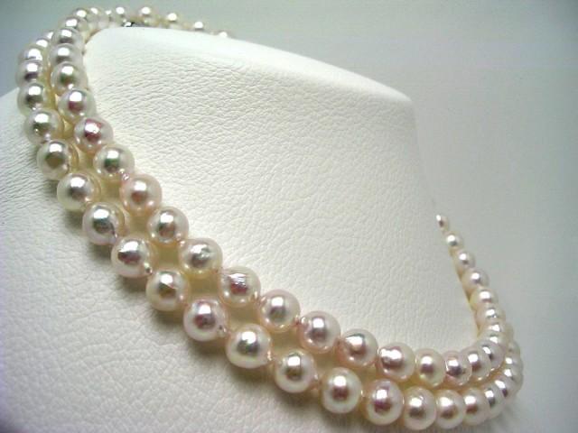 真珠 パール アコヤ真珠 セミロング ネックレス ...