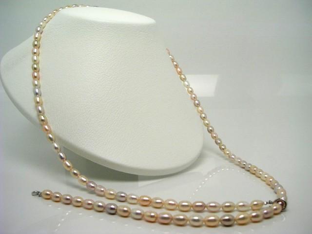 真珠 パール 淡水真珠 セミロング ネックレス 真...