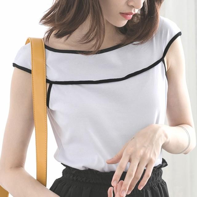 シンプル◇ノースリーブラインTシャツ