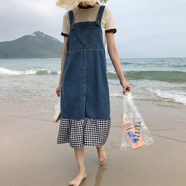 切り替えデザイン☆デニムジャンパースカート