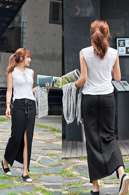 スカート ロング カジュアル スリット タイト シ...