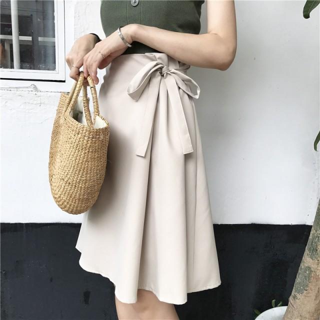 レディース スカート 人気 無地 リボン 春夏 ひざ...