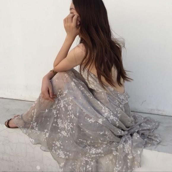 刺繍 シフォン マキシワンピース ドレス