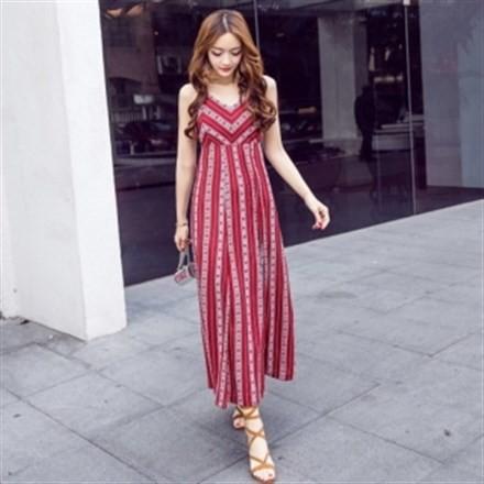 春夏 超ロング マキシ丈ワンピース サマードレス ...