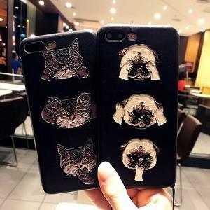 犬&猫 イラスト iphone 6s/plus 7/plus ソフトケ...