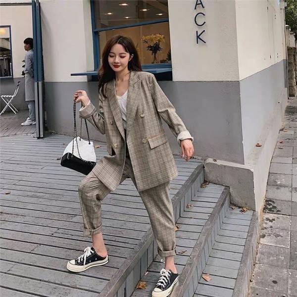 韓国 スーツ パンツスーツ カジュアルスーツ セッ...