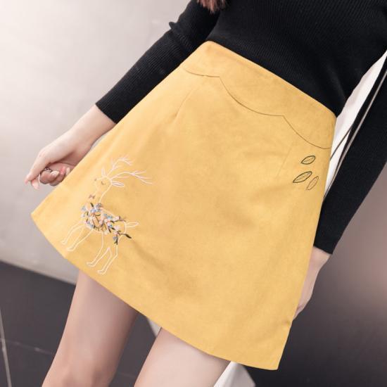 刺繍スエードミニスカート Aライン 台形 シカ...